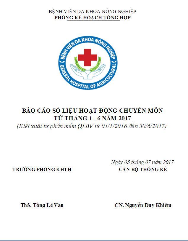 Báo cáo hoạt động chuyên môn (từ tháng 1 đến tháng 6 năm 2017)